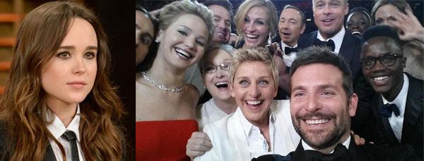 Ellen Page en la fiesta post-Oscars y el selfie más famoso de la historia.