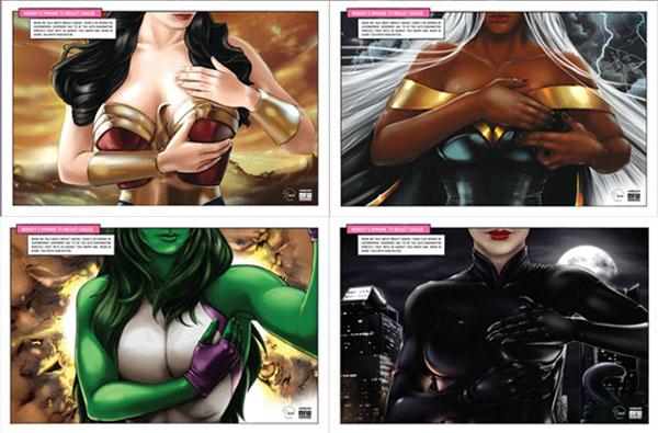 Ilustraciones de Maisa Chaves para la prevención del cancer de mama.