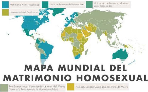 Mapa Mundial del Matrimonio Homosexual.